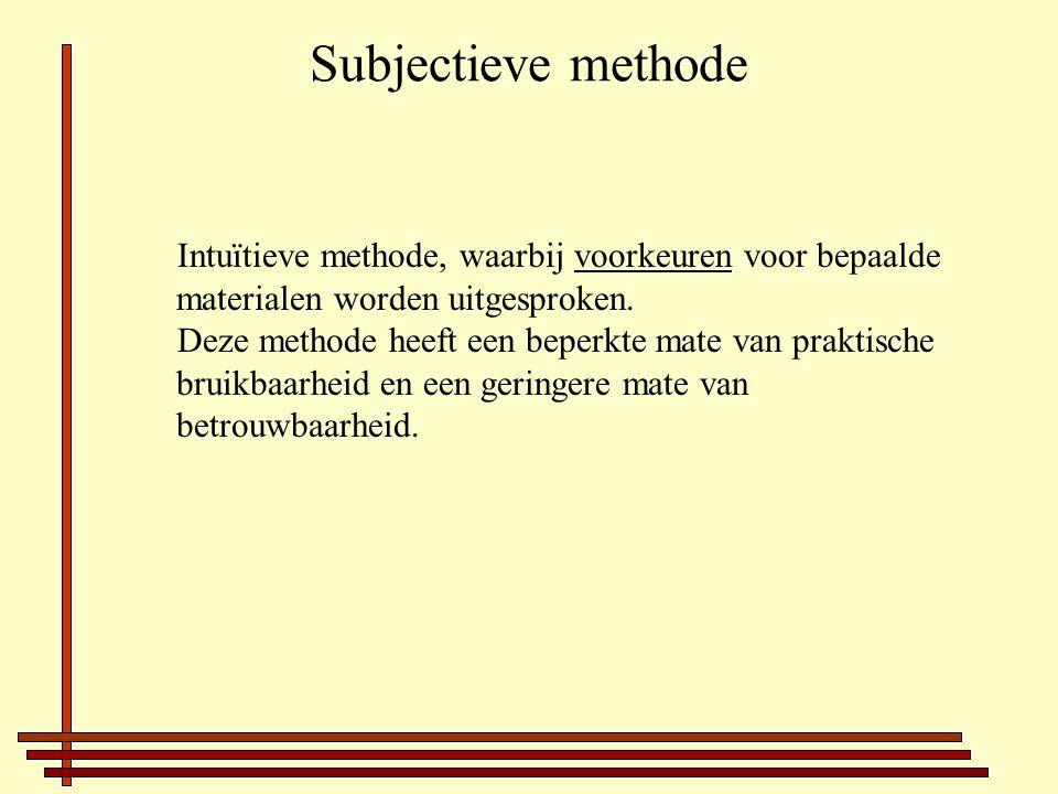 Subjectieve methode Intuïtieve methode, waarbij voorkeuren voor bepaalde materialen worden uitgesproken.