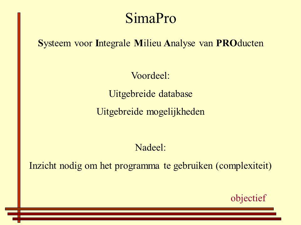 SimaPro Systeem voor Integrale Milieu Analyse van PROducten Voordeel: Uitgebreide database Uitgebreide mogelijkheden Nadeel: Inzicht nodig om het programma te gebruiken (complexiteit) objectief