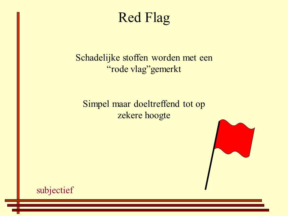 Red Flag Schadelijke stoffen worden met een rode vlag gemerkt Simpel maar doeltreffend tot op zekere hoogte subjectief