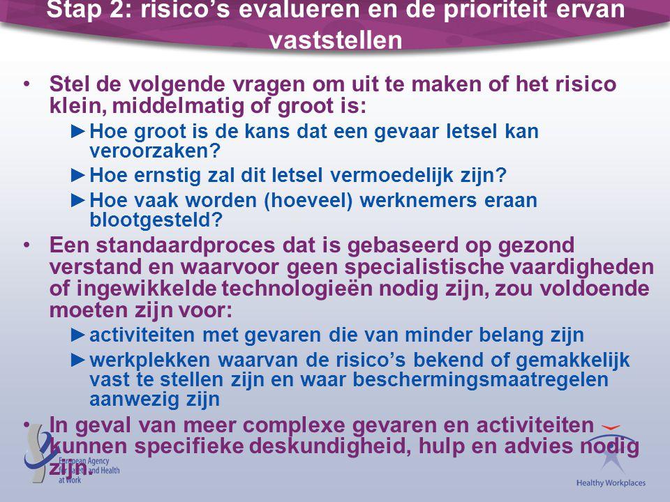 Stap 2: risico's evalueren en de prioriteit ervan vaststellen Stel de volgende vragen om uit te maken of het risico klein, middelmatig of groot is: ►H