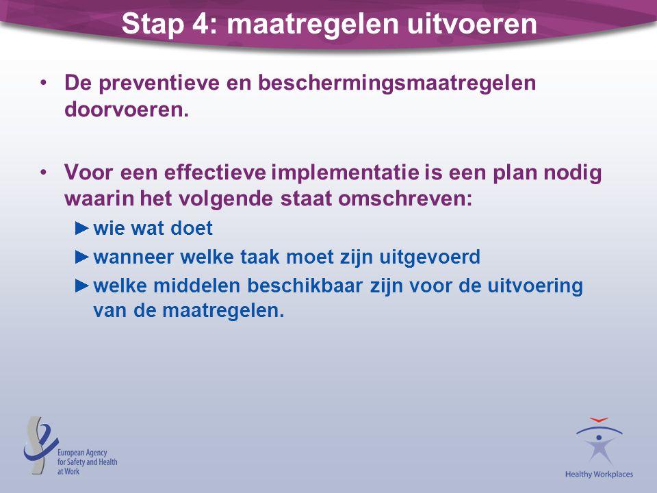 Stap 4: maatregelen uitvoeren De preventieve en beschermingsmaatregelen doorvoeren. Voor een effectieve implementatie is een plan nodig waarin het vol