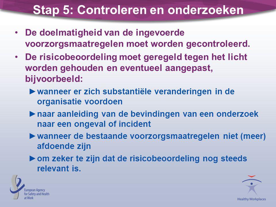 Stap 5: Controleren en onderzoeken De doelmatigheid van de ingevoerde voorzorgsmaatregelen moet worden gecontroleerd. De risicobeoordeling moet gerege