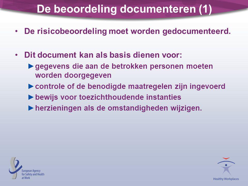 De beoordeling documenteren (1) De risicobeoordeling moet worden gedocumenteerd. Dit document kan als basis dienen voor: ►gegevens die aan de betrokke
