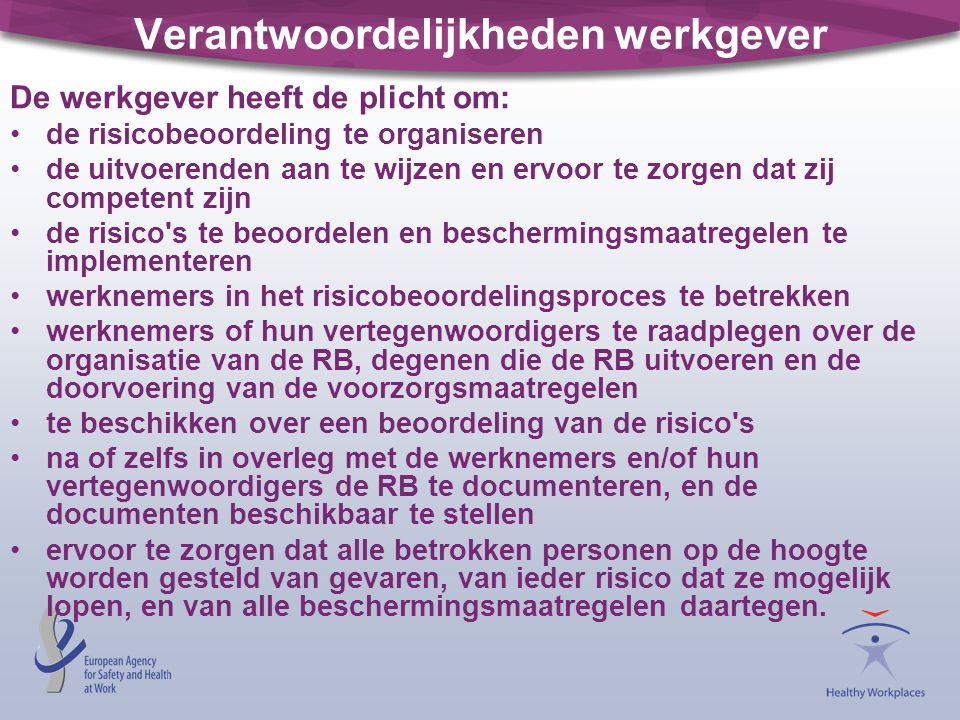 Verantwoordelijkheden werkgever De werkgever heeft de plicht om: de risicobeoordeling te organiseren de uitvoerenden aan te wijzen en ervoor te zorgen