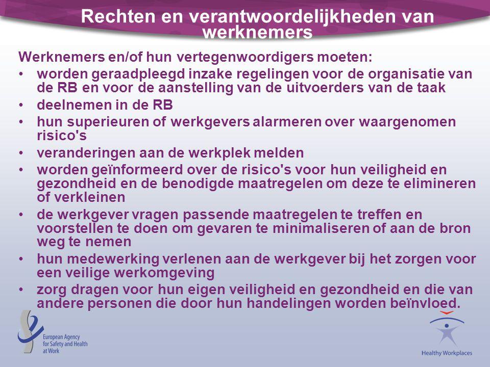 Rechten en verantwoordelijkheden van werknemers Werknemers en/of hun vertegenwoordigers moeten: worden geraadpleegd inzake regelingen voor de organisa