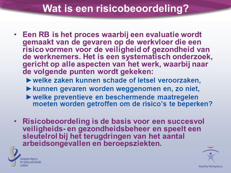 Wat is een risicobeoordeling? Een RB is het proces waarbij een evaluatie wordt gemaakt van de gevaren op de werkvloer die een risico vormen voor de ve