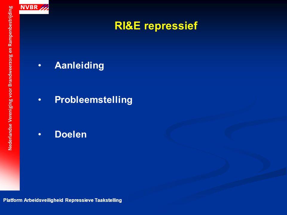 Platform Arbeidsveiligheid Repressieve Taakstelling Basiselementen voor de RI&E Veiligheidschecklist repressief optreden Belevingsonderzoek Checklisten Object-risico analyse Risicograaf (standaard en veiligheidsketen)