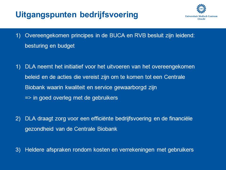 Uitgangspunten bedrijfsvoering 1)Overeengekomen principes in de BUCA en RVB besluit zijn leidend: besturing en budget 1)DLA neemt het initiatief voor