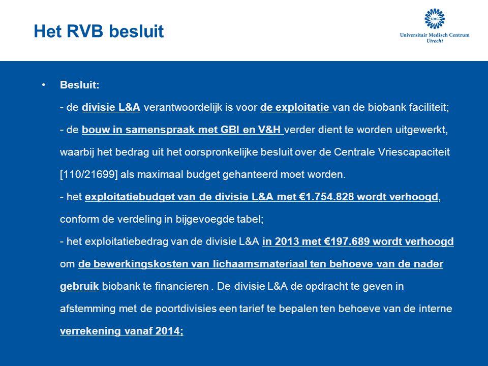 Het RVB besluit Besluit: - de divisie L&A verantwoordelijk is voor de exploitatie van de biobank faciliteit; - de bouw in samenspraak met GBI en V&H v