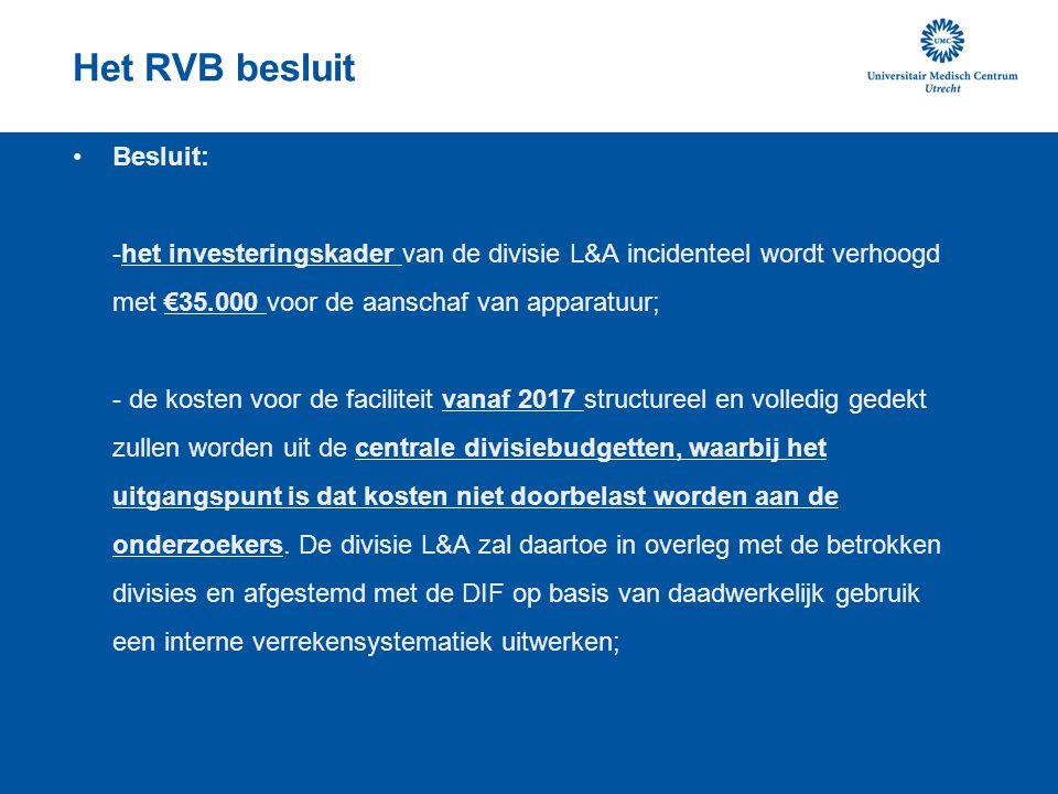 Het RVB besluit Besluit: -het investeringskader van de divisie L&A incidenteel wordt verhoogd met €35.000 voor de aanschaf van apparatuur; - de kosten