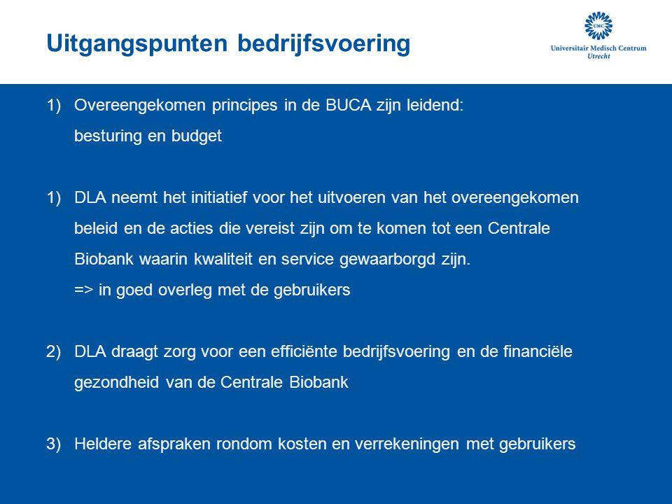 Uitgangspunten bedrijfsvoering 1)Overeengekomen principes in de BUCA zijn leidend: besturing en budget 1)DLA neemt het initiatief voor het uitvoeren v