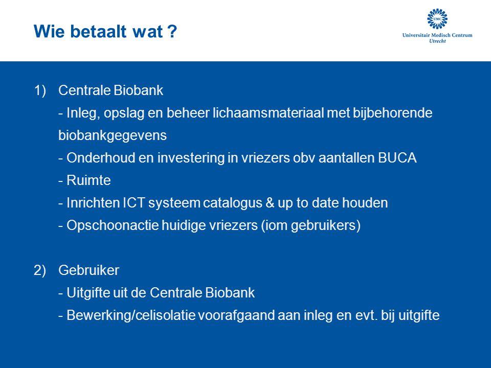 Wie betaalt wat ? 1)Centrale Biobank - Inleg, opslag en beheer lichaamsmateriaal met bijbehorende biobankgegevens - Onderhoud en investering in vrieze