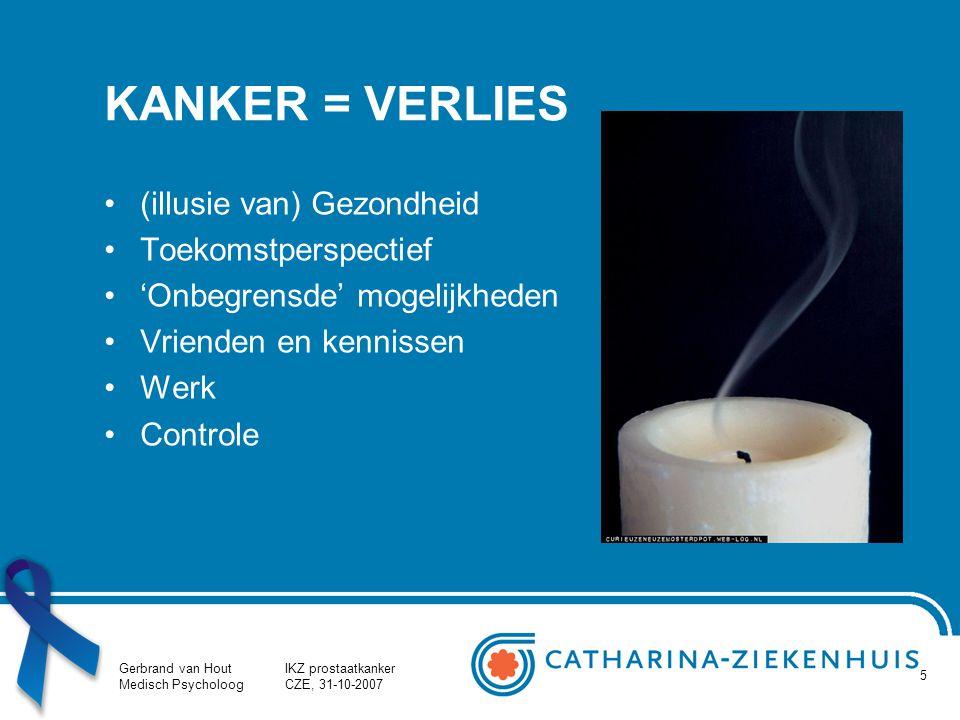 Gerbrand van Hout Medisch Psycholoog IKZ prostaatkanker CZE, 31-10-2007 5 KANKER = VERLIES (illusie van) Gezondheid Toekomstperspectief 'Onbegrensde'