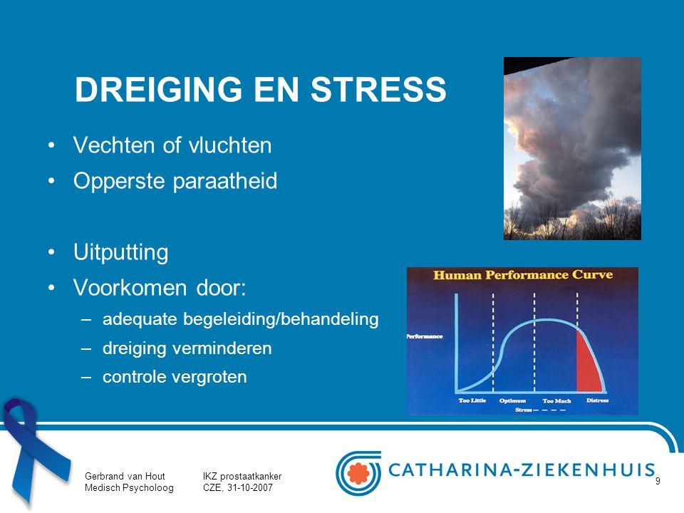 Gerbrand van Hout Medisch Psycholoog IKZ prostaatkanker CZE, 31-10-2007 9 DREIGING EN STRESS Vechten of vluchten Opperste paraatheid Uitputting Voorko
