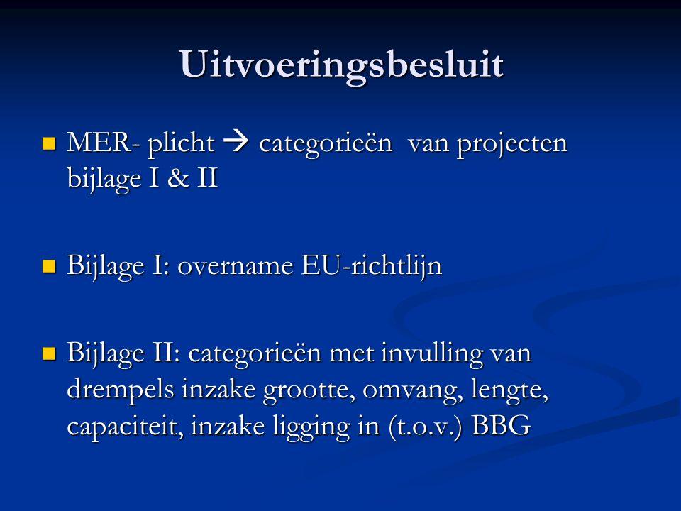 Uitvoeringsbesluit MER- plicht  categorieën van projecten bijlage I & II MER- plicht  categorieën van projecten bijlage I & II Bijlage I: overname EU-richtlijn Bijlage I: overname EU-richtlijn Bijlage II: categorieën met invulling van drempels inzake grootte, omvang, lengte, capaciteit, inzake ligging in (t.o.v.) BBG Bijlage II: categorieën met invulling van drempels inzake grootte, omvang, lengte, capaciteit, inzake ligging in (t.o.v.) BBG