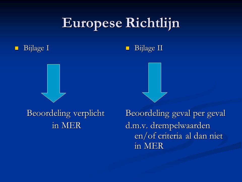 Europese Richtlijn Bijlage I Bijlage I Beoordeling verplicht in MER in MER Bijlage II Beoordeling geval per geval d.m.v.