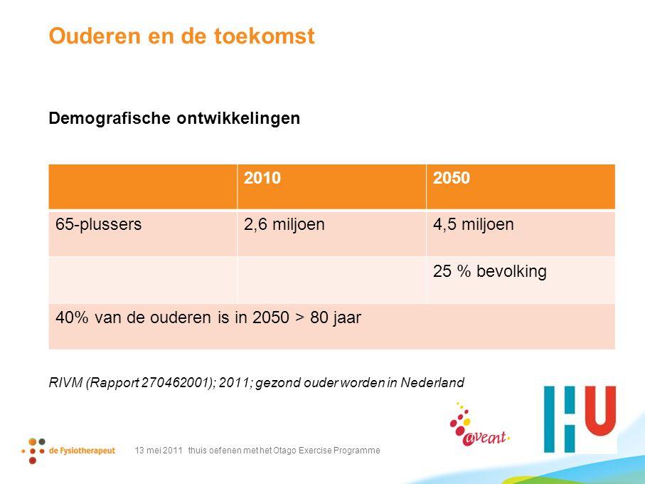 Ouderen en de toekomst Demografische ontwikkelingen RIVM (Rapport 270462001); 2011; gezond ouder worden in Nederland 13 mei 2011 thuis oefenen met het