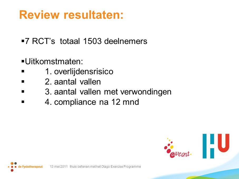 Review resultaten:  7 RCT's totaal 1503 deelnemers  Uitkomstmaten:  1. overlijdensrisico  2. aantal vallen  3. aantal vallen met verwondingen  4