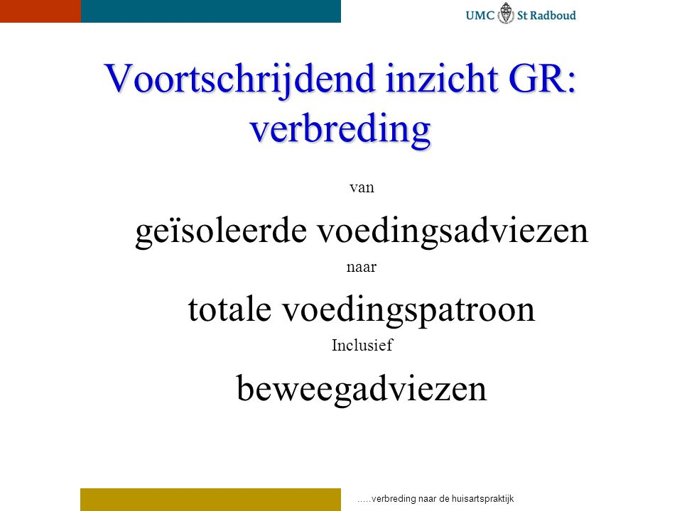 .....verbreding naar de huisartspraktijk Voortschrijdend inzicht GR: verbreding van geïsoleerde voedingsadviezen naar totale voedingspatroon Inclusief beweegadviezen