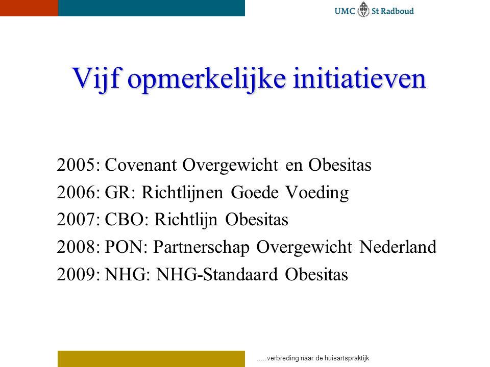 Vijf opmerkelijke initiatieven 2005: Covenant Overgewicht en Obesitas 2006: GR: Richtlijnen Goede Voeding 2007: CBO: Richtlijn Obesitas 2008: PON: Partnerschap Overgewicht Nederland 2009: NHG: NHG-Standaard Obesitas