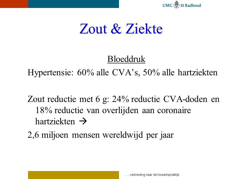 .....verbreding naar de huisartspraktijk Zout & Ziekte Bloeddruk Hypertensie: 60% alle CVA's, 50% alle hartziekten Zout reductie met 6 g: 24% reductie CVA-doden en 18% reductie van overlijden aan coronaire hartziekten  2,6 miljoen mensen wereldwijd per jaar