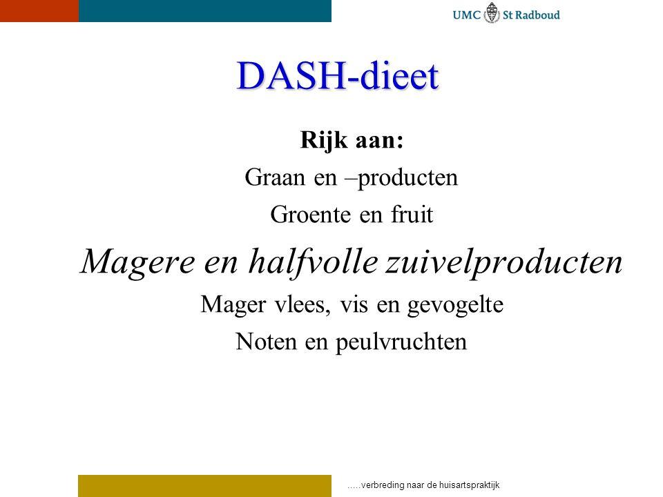 .....verbreding naar de huisartspraktijk DASH-dieet Rijk aan: Graan en –producten Groente en fruit Magere en halfvolle zuivelproducten Mager vlees, vis en gevogelte Noten en peulvruchten