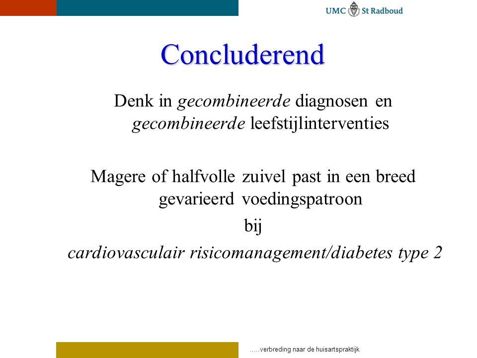 Concluderend Denk in gecombineerde diagnosen en gecombineerde leefstijlinterventies Magere of halfvolle zuivel past in een breed gevarieerd voedingspatroon bij cardiovasculair risicomanagement/diabetes type 2