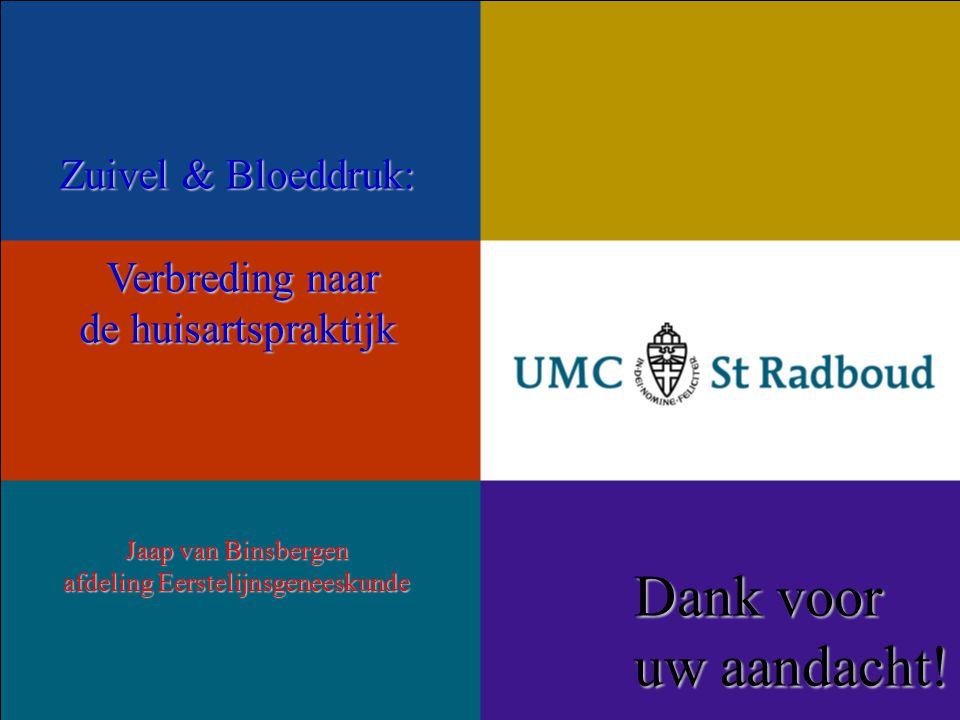 Zuivel & Bloeddruk: Verbreding naar Verbreding naar de huisartspraktijk Jaap van Binsbergen afdeling Eerstelijnsgeneeskunde Dank voor uw aandacht!