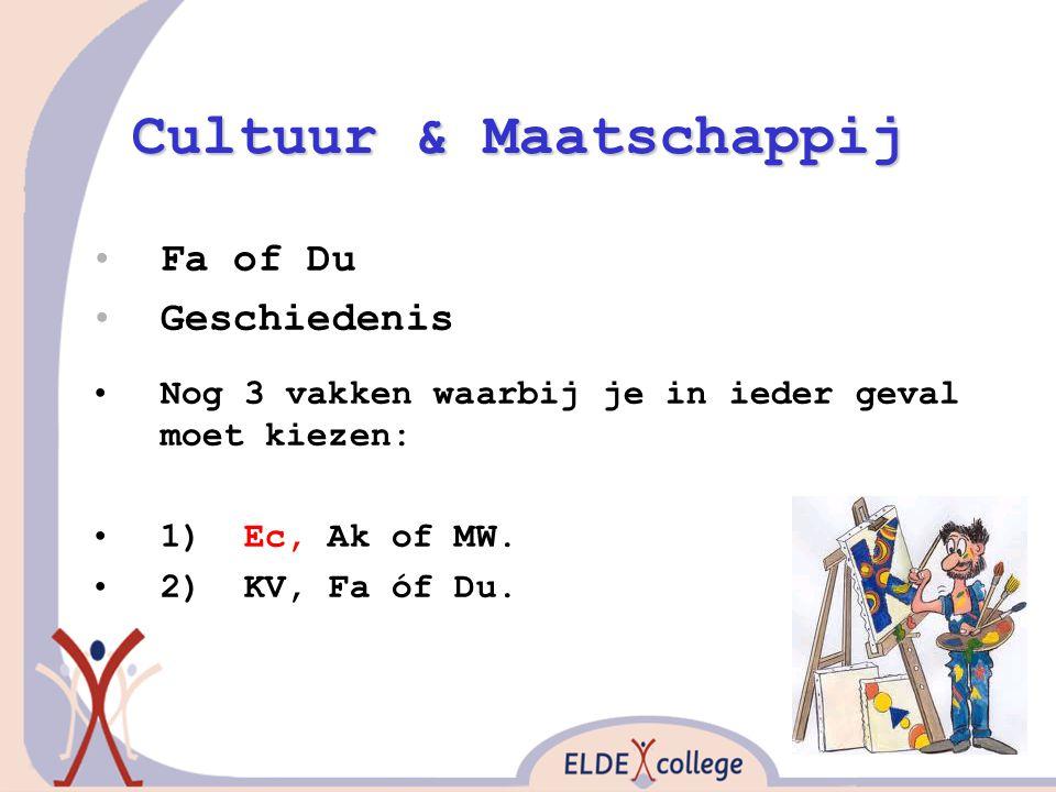 Cultuur & Maatschappij Fa of Du Geschiedenis Nog 3 vakken waarbij je in ieder geval moet kiezen: 1) Ec, Ak of MW. 2) KV, Fa óf Du.