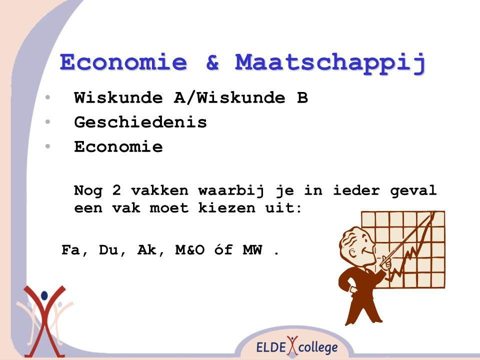 Economie & Maatschappij Wiskunde A/Wiskunde B Geschiedenis Economie Nog 2 vakken waarbij je in ieder geval een vak moet kiezen uit: Fa, Du, Ak, M&O óf
