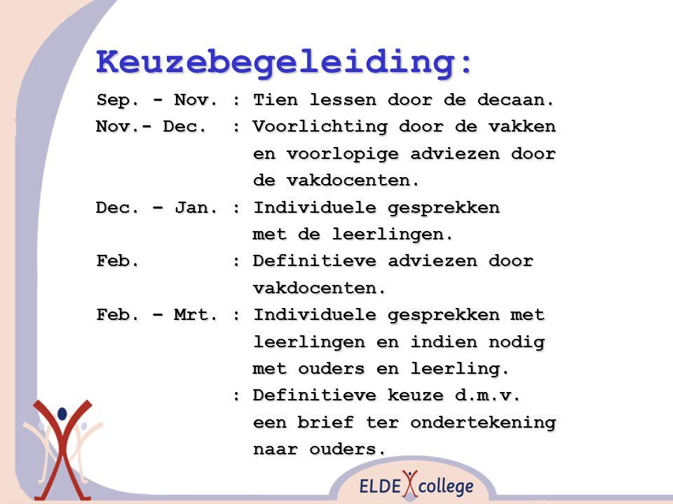 Keuzebegeleiding: Sep. - Nov. : Tien lessen door de decaan. Nov.- Dec. : Voorlichting door de vakken en voorlopige adviezen door en voorlopige advieze