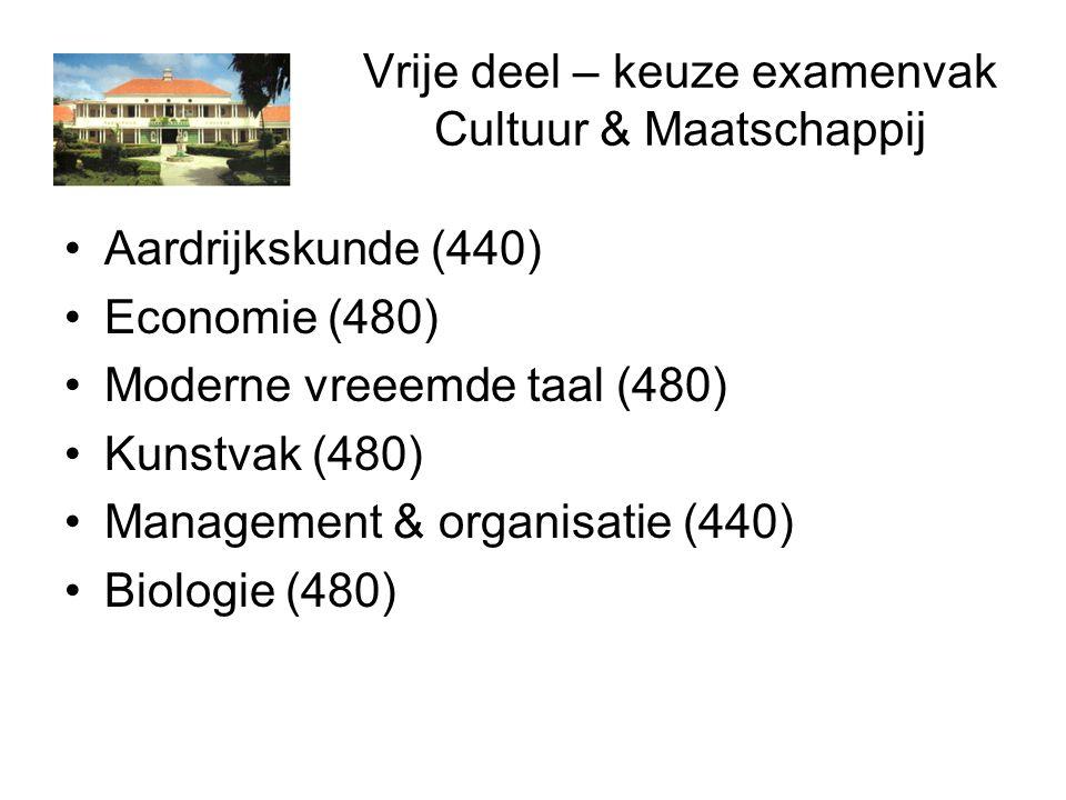 Vrije deel – keuze examenvak Cultuur & Maatschappij Aardrijkskunde (440) Economie (480) Moderne vreeemde taal (480) Kunstvak (480) Management & organisatie (440) Biologie (480)