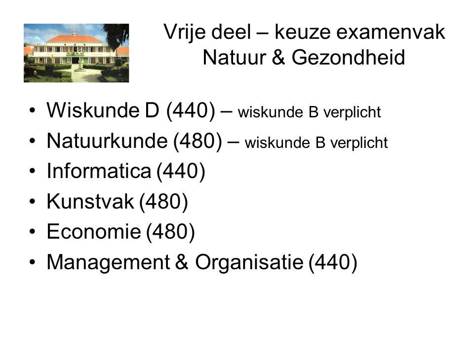 Vrije deel – keuze examenvak Natuur & Gezondheid Wiskunde D (440) – wiskunde B verplicht Natuurkunde (480) – wiskunde B verplicht Informatica (440) Kunstvak (480) Economie (480) Management & Organisatie (440)