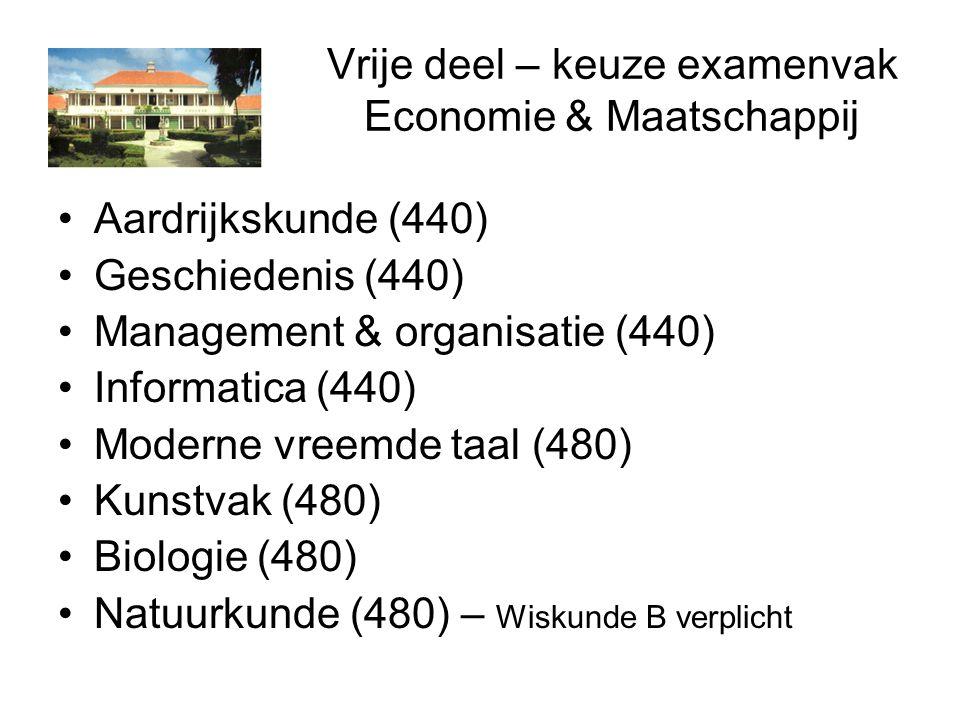 Vrije deel – keuze examenvak Economie & Maatschappij Aardrijkskunde (440) Geschiedenis (440) Management & organisatie (440) Informatica (440) Moderne vreemde taal (480) Kunstvak (480) Biologie (480) Natuurkunde (480) – Wiskunde B verplicht