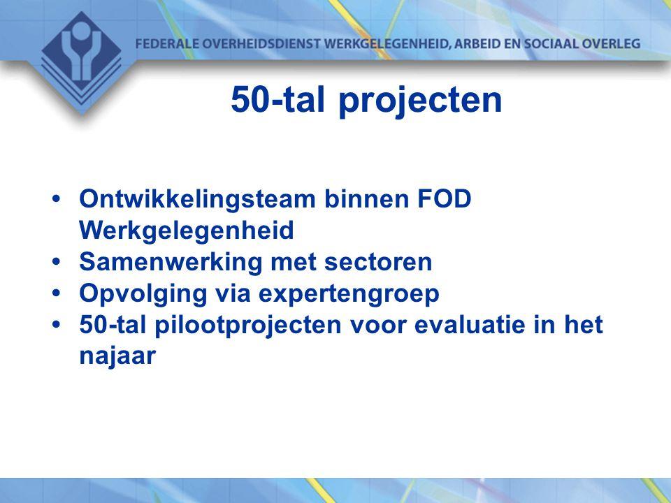 50-tal projecten Ontwikkelingsteam binnen FOD Werkgelegenheid Samenwerking met sectoren Opvolging via expertengroep 50-tal pilootprojecten voor evaluatie in het najaar