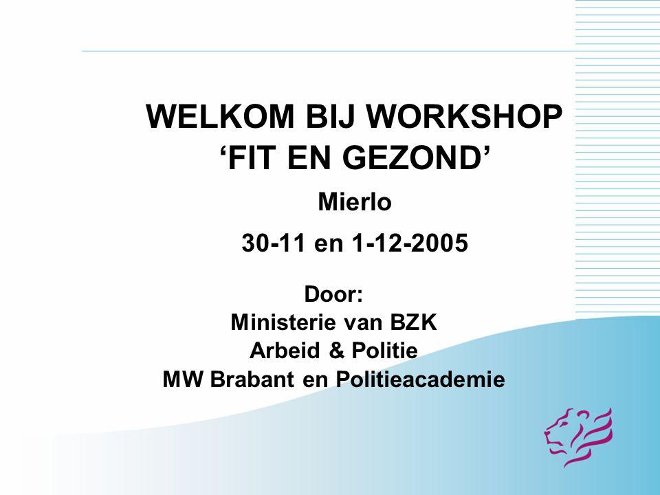 WELKOM BIJ WORKSHOP 'FIT EN GEZOND' Mierlo 30-11 en 1-12-2005 Door: Ministerie van BZK Arbeid & Politie MW Brabant en Politieacademie