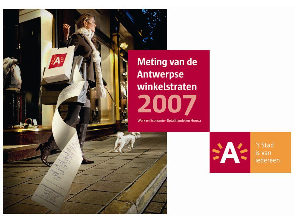 12 Meting van de Antwerpse winkelstraten 2007 Imagoverlagende handel Winkelgebieden en hun imagoverlagende handel 2007 Handelstraat 27% Gemeentestraat 21% Provinciestraat 20% Kerkstraat 18% Jezusstraat 0% Fruithoflaan 0% Diamantwijk 0% Bist 0% HOOG LAAG t.o.v.