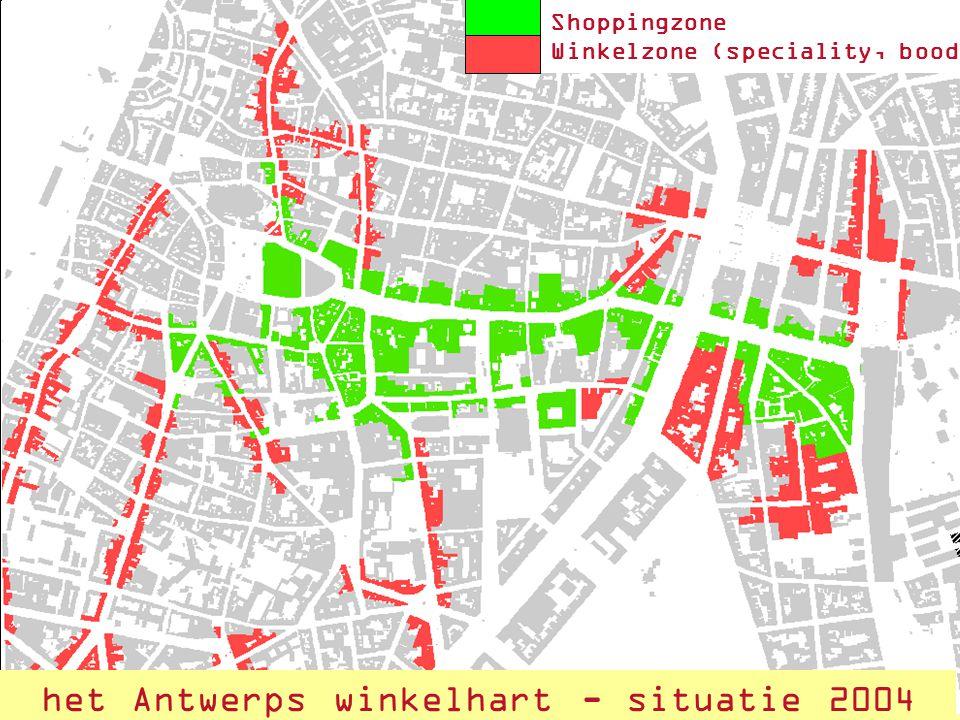 18 het Antwerps winkelharthet Antwerps winkelhart - situatie 2004 Shoppingzone Winkelzone (speciality, boodschappen)