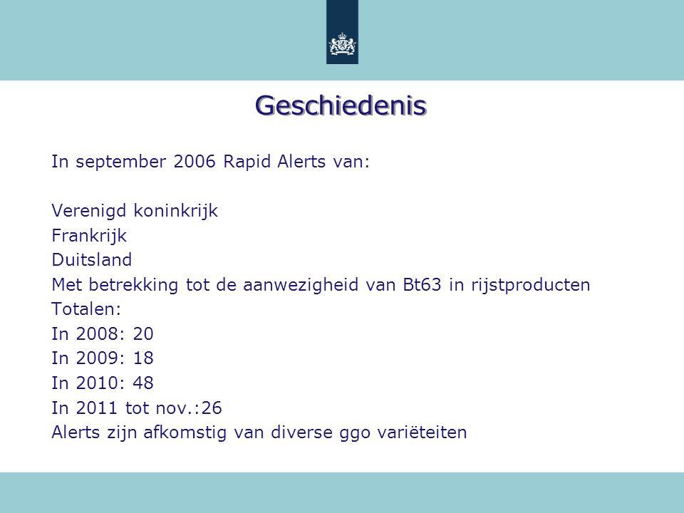Geschiedenis In september 2006 Rapid Alerts van: Verenigd koninkrijk Frankrijk Duitsland Met betrekking tot de aanwezigheid van Bt63 in rijstproducten