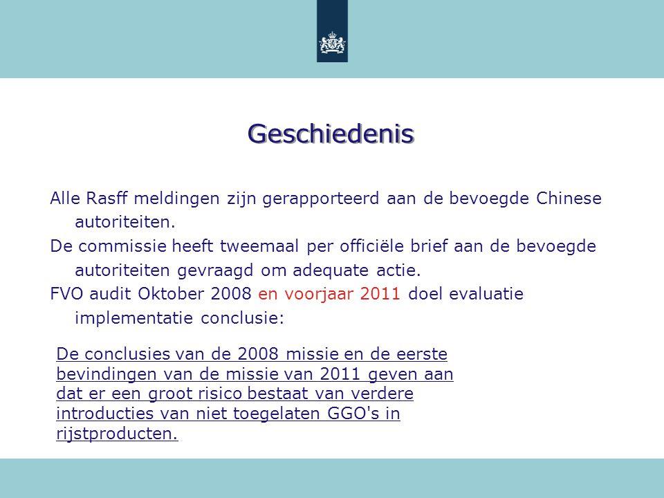 Geschiedenis Alle Rasff meldingen zijn gerapporteerd aan de bevoegde Chinese autoriteiten. De commissie heeft tweemaal per officiële brief aan de bevo
