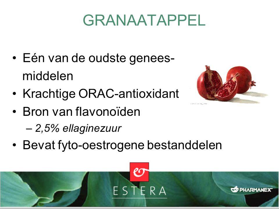 GRANAATAPPEL Eén van de oudste genees- middelen Krachtige ORAC-antioxidant Bron van flavonoïden –2,5% ellaginezuur Bevat fyto-oestrogene bestanddelen