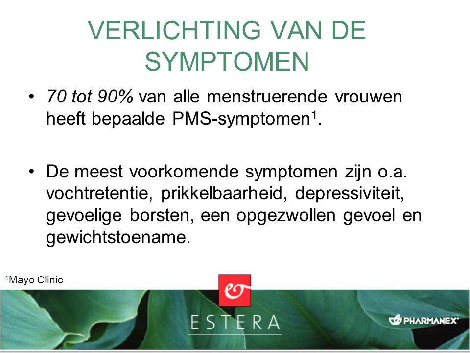 VERLICHTING VAN DE SYMPTOMEN 70 tot 90% van alle menstruerende vrouwen heeft bepaalde PMS-symptomen 1. De meest voorkomende symptomen zijn o.a. vochtr
