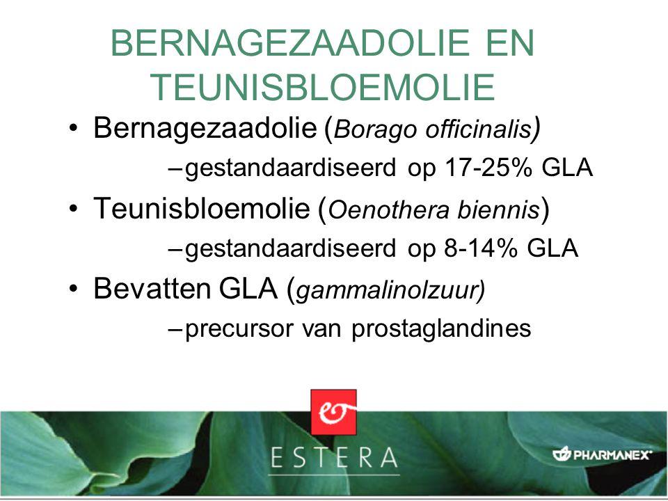 BERNAGEZAADOLIE EN TEUNISBLOEMOLIE Bernagezaadolie ( Borago officinalis ) –gestandaardiseerd op 17-25% GLA Teunisbloemolie ( Oenothera biennis ) –gest