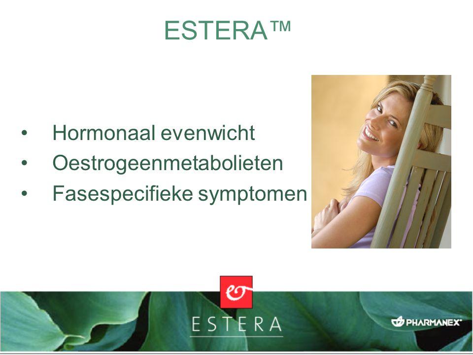 EIGEN COMBINATIE VAN INGREDIËNTEN (PATENT AANGEVRAAGD) Soja-isoflavonen Granaatappel Broccolipoeder Lijnzaadlignanen Fyto-oestrogenen ondersteunen een gezond hormonaal evenwicht Enzyminductoren helpen het lichaam oestrogeen- metabolieten te reguleren