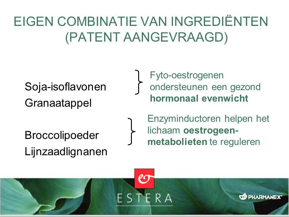 EIGEN COMBINATIE VAN INGREDIËNTEN (PATENT AANGEVRAAGD) Soja-isoflavonen Granaatappel Broccolipoeder Lijnzaadlignanen Fyto-oestrogenen ondersteunen een