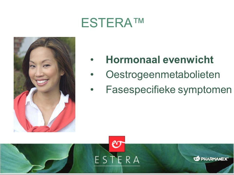 ESTERA™ Women's Balance Formula Bevordert een gezond hormonaal evenwicht Ondersteunt een gezond oestrogeenmetabolisme Helpt veel voorkomende PMS-symptomen te verlichten