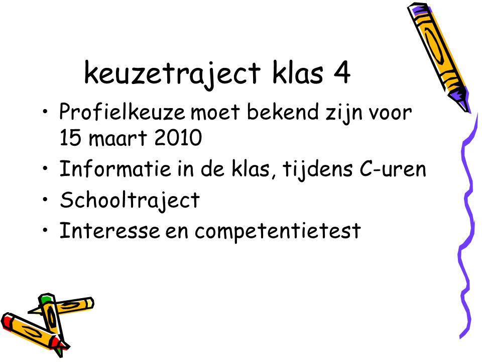 keuzetraject klas 4 Profielkeuze moet bekend zijn voor 15 maart 2010 Informatie in de klas, tijdens C-uren Schooltraject Interesse en competentietest
