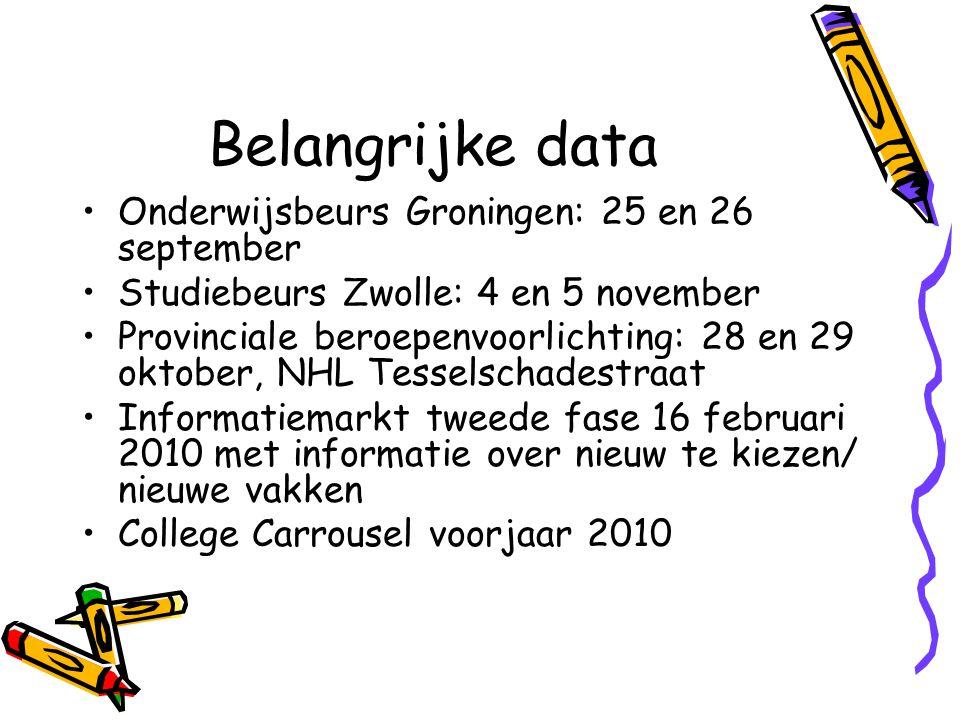 Belangrijke data Onderwijsbeurs Groningen: 25 en 26 september Studiebeurs Zwolle: 4 en 5 november Provinciale beroepenvoorlichting: 28 en 29 oktober, NHL Tesselschadestraat Informatiemarkt tweede fase 16 februari 2010 met informatie over nieuw te kiezen/ nieuwe vakken College Carrousel voorjaar 2010