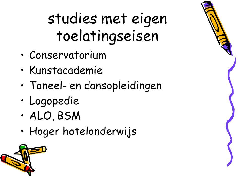 studies met eigen toelatingseisen Conservatorium Kunstacademie Toneel- en dansopleidingen Logopedie ALO, BSM Hoger hotelonderwijs