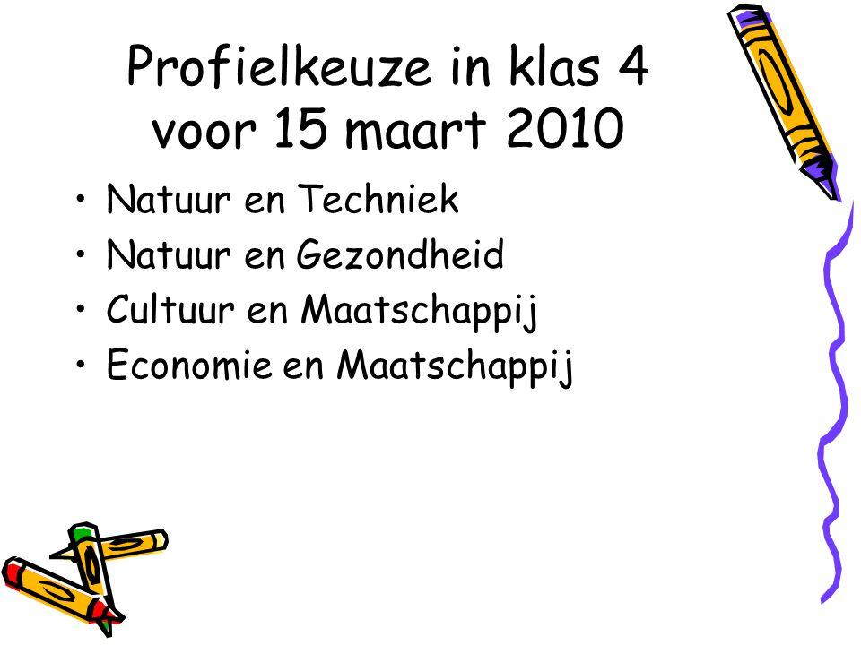 Profielkeuze in klas 4 voor 15 maart 2010 Natuur en Techniek Natuur en Gezondheid Cultuur en Maatschappij Economie en Maatschappij